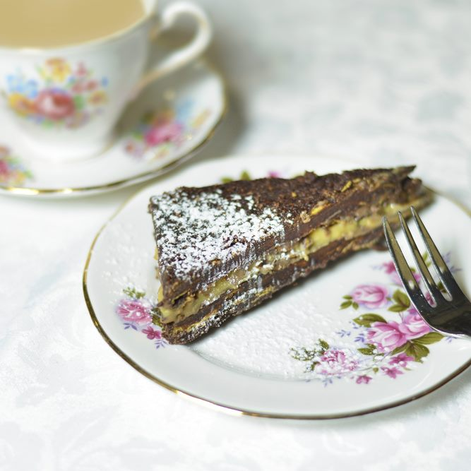 Caramel slice and a cup of tea