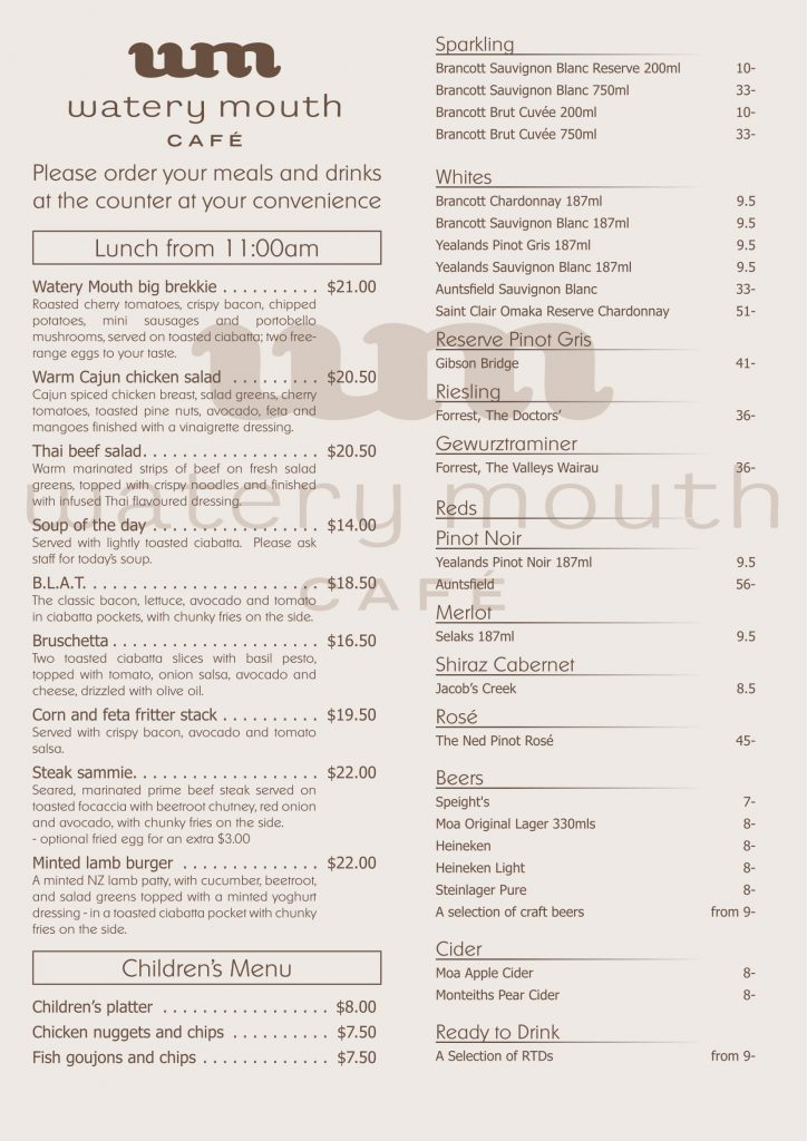 Watery Mouth Cafe menu